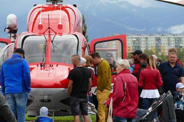 Vrtuľníková záchranná zdravotná služba v Žiline.