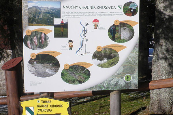 Informačná tabuľa na začiatku chodníka.
