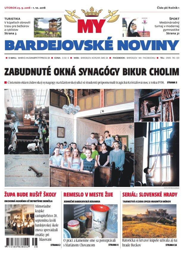 Titulná strana týždenníka MY Bardejovské noviny č.38.