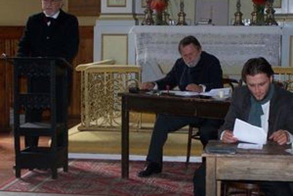 Viliam Hriadel(zľava), Ivan Giač a Marek Geišberg ako Štefan Marko Daxner, Ján Francisci a Andrej Sládkovič počas Svätomartiniády.