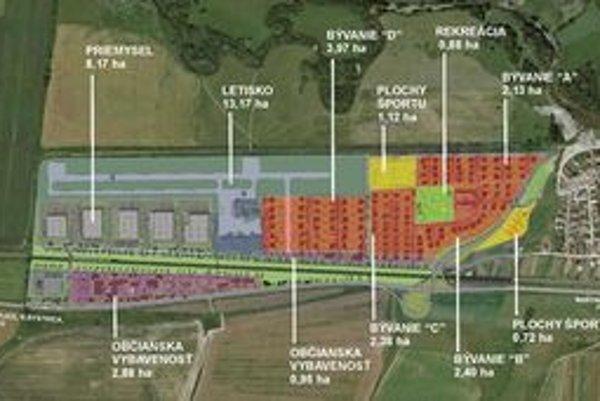 Polia a lúky za traťou pri letisku v Košťanoch nad Turcom sa zmení na obytnú a priemyselnú zónu.