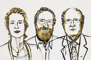 Laureáti Nobelovej ceny za chémiu. Zľava: Frances H. Arnoldová, George P. Smith a Sir Gregory P. Winter.