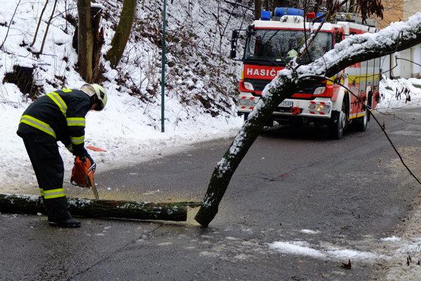 Popoludní odstraňovali hasiči aj spadnuté stromy v Kremnici a okolí.