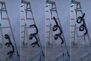 Robotický had sa dokáže vyšplhať na rebríky.
