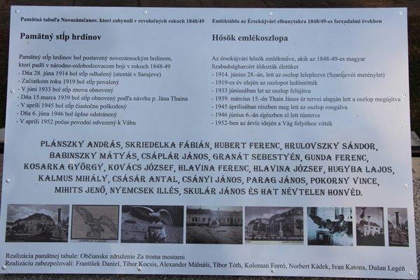 Pamätná tabuľa na Stĺp hrdinov.