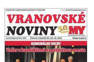 Titulná strana týždenníka Vranovské noviny č. 42/2018.