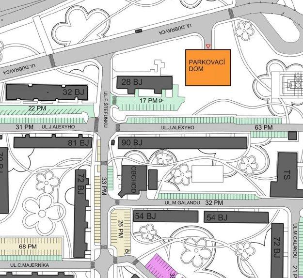 Návrh umiestnenia parkovacieho domu pri dome služieb Jantár.