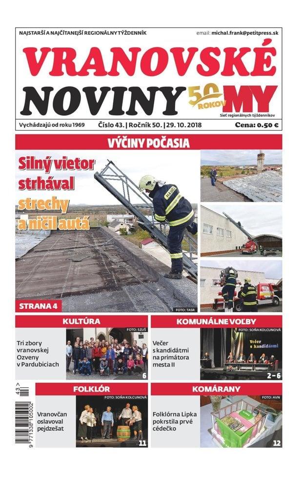 Titulná strana týždenníka Vranovské noviny č. 43/2018.