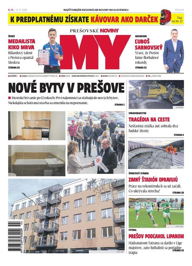 Titulná strana týždenníka MY Prešovské noviny č. 44/2018.