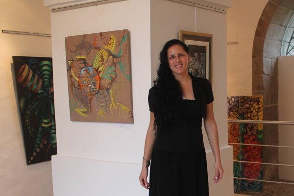 Melinda Majerčíková - Šteinerová na výstave v Tekovskom múzeu.
