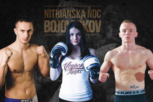 V ringu sa predstaví niekoľko Nitranov – medzi nimi kickboxeri (zľava) Štefan Meszároš, Ivana Miklášová a Cyril Pažitný.