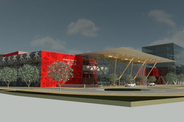 Pohľad na budúce nákupné centrum z Bystrickej cesty v Ružomberku.