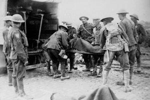 Sanitka odváža zraneného vojaka.