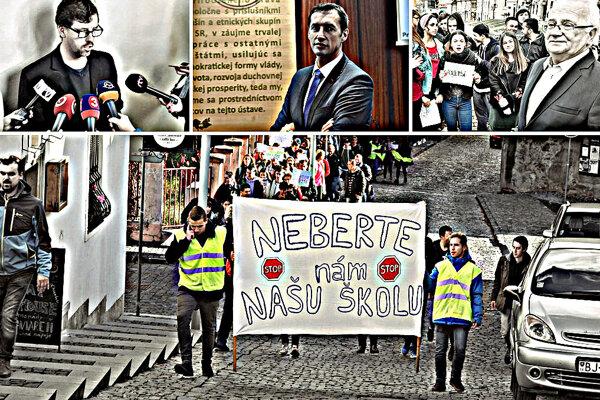 Študenti Bardejovského dolného gymnázia, ktoré chce kraj zrušiť, vyšli minulý týždeň do ulíc. (FOTO: MARIO HUDÁK)