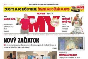 Titulná strana týždenníka MY Noviny Spiša č. 47/2018.