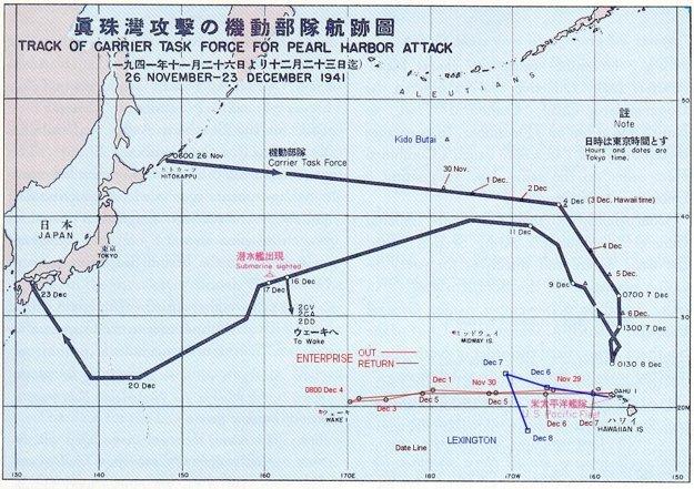 Takmer mesačná plavba japonskej flotily pri útoku na Pearl Harbor.