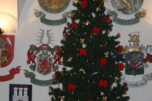 Vianočný stromček vo vestibule radnice v Spišskej Novej Vsi
