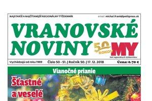 Vranovské noviny, vianočné dvojčíslo 50-51, 2018.