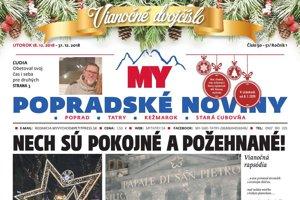 Titulná strana týždenníka MY Popradské noviny, vianočné dvojčíslo, 50-51, 2018.