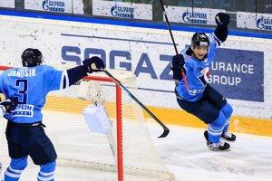 Gólová radosť hráčov HC Slovan Bratislava.
