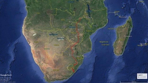 Trasa bociana v Afrike (červenou).