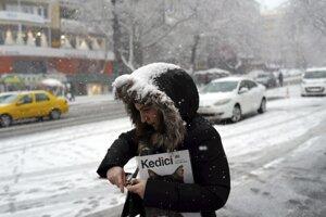 Husté sneženie v Ankare.
