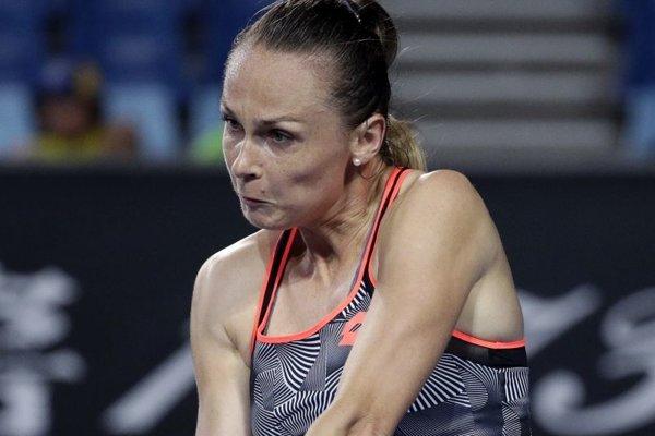 Magdaléna Rybáriková v zápase proti Petre Kvitovej.