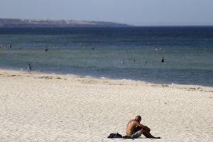 Na pláži v Adelaide.