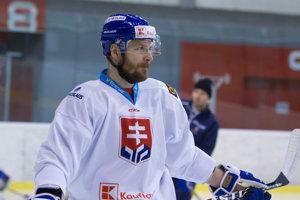 Michal Sersen počas tréningu slovenskej hokejovej reprezentácie pred turnajom Kaufland Cup 2019. Bratislava, 5. február 2019.