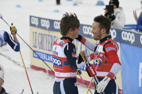 Johannes Hösflot Klaebo (vľavo) a Emil Iversen.