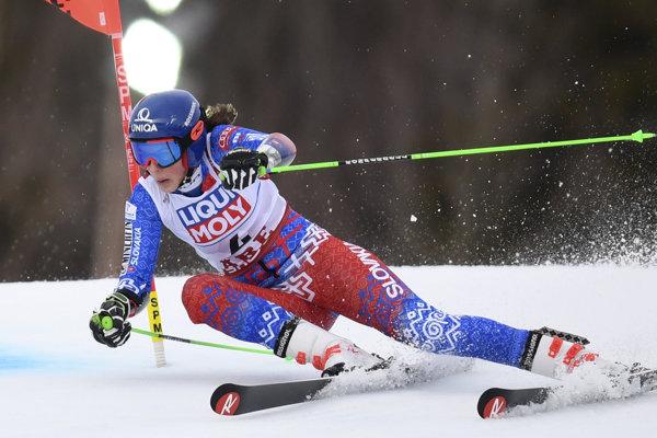 Petra Vlhová počas obrovského slalomu na MS v alpskom lyžovaní 2019.