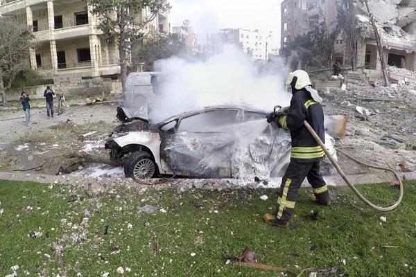 Následky výbuchv v Idlibe.