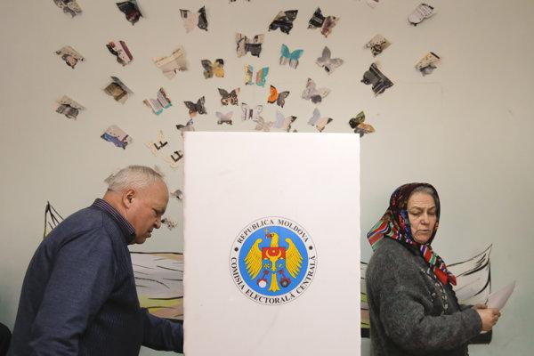 Volebná miestnosť v Kišiňove.