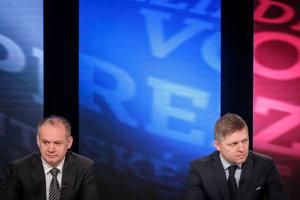 Prezidentskí kandidáti Andrej Kiska a Robert Fico počas predvolebnej diskusie v roku 2014.
