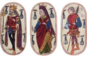 Z Flámskych poľovníckych kariet sa dochovala kompletná sada 52 kariet, majú ešte pôvodne obvyklý oválny tvar.