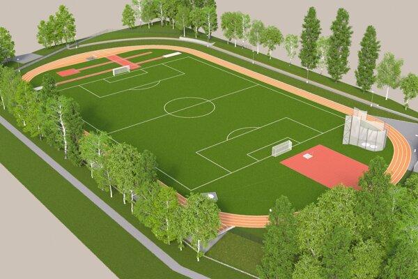 Vizualizácia rekonštrukcie atletického štadióna VI. ZŠ.