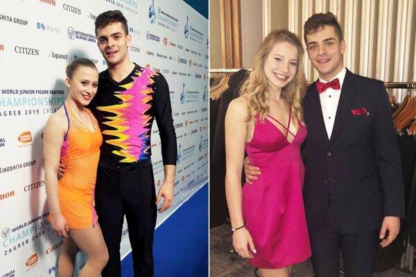 Vľavo dvojica Simon Fukas - Tereza Zendulková. Vpravo snímka zo záverečného banketu - Silvia Hugecová a Simon Fukas.