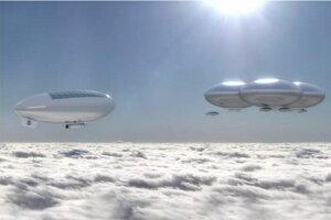 Koncept lodí v atmosfére Venuše od NASA. Projekt ukázal trojfázovú misiu, počas ktorej by ľudia prišli na tridsať dní k Venuši.