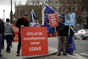 Pred parlamentom v posledných dňoch demonštrujú zástancovia aj odporcovia brexitu.