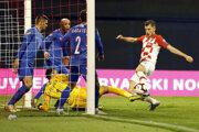 Momentka zo zápasu Chorvátsko - Azerbajdžan v kvalifikácii o postup na ME vo futbale 2020.