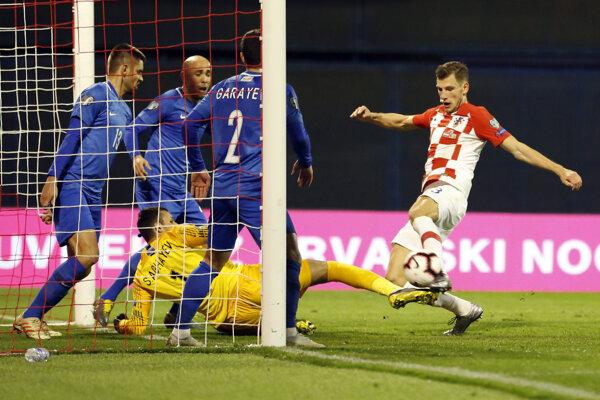 Momentka zo zápasu Chorvátsko - Azerbajdžan v kvalifikácii o postup na ME vo futbale 2020 - ilustračná fotografia.