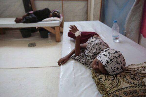 Jemenské deti hospitalizované s podozrením na choleru.