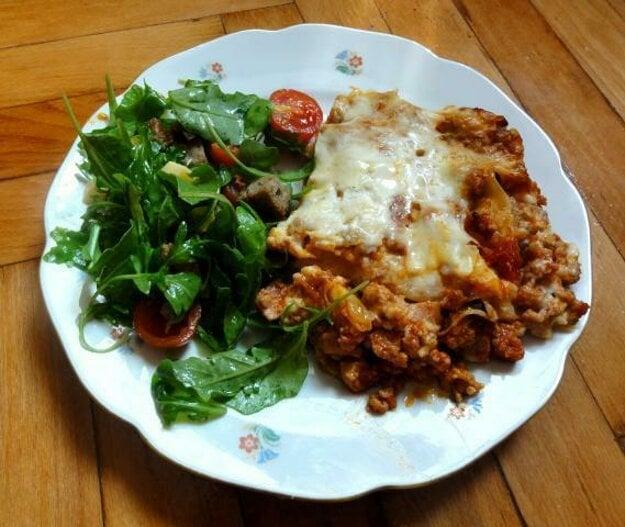 Lasagne s rukolovým šalátom