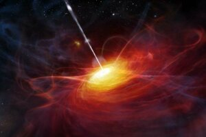 Umelecká predstava o kvazare, ktorý poháňa supermasívna čierna diera v strede galaxie.