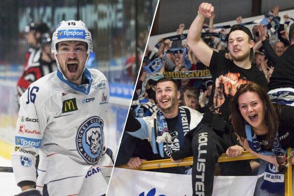 Vľavo naradostený Róbert Lantoši. Na štadióne vo Zvolene oslavovali stovky nitrianskych fanúšikov.