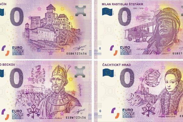 Eurobankovky s nulovou nominálnou hodnotou s vizualizáciou Trenčianskeho, Beckovského, Čachtického hradu a generála Milana Rastislava Štefánika.