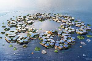 Vyobrazenie plávajúceho mesta Oceanix.