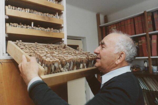Ján Patočka so svojou zbierkou kukiel motýľov.