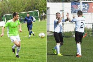 Vľavo snímka zo šlágra MO Galanta Mostová - Jelka. Vpravo radosť hráčov Veče.