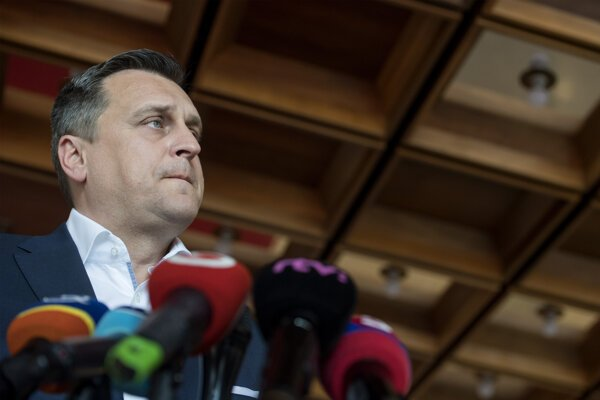 Predseda NR SR Andrej Danko (SNS) počas tlačovej konferencie 15. apríla 2019 v Bratislave.